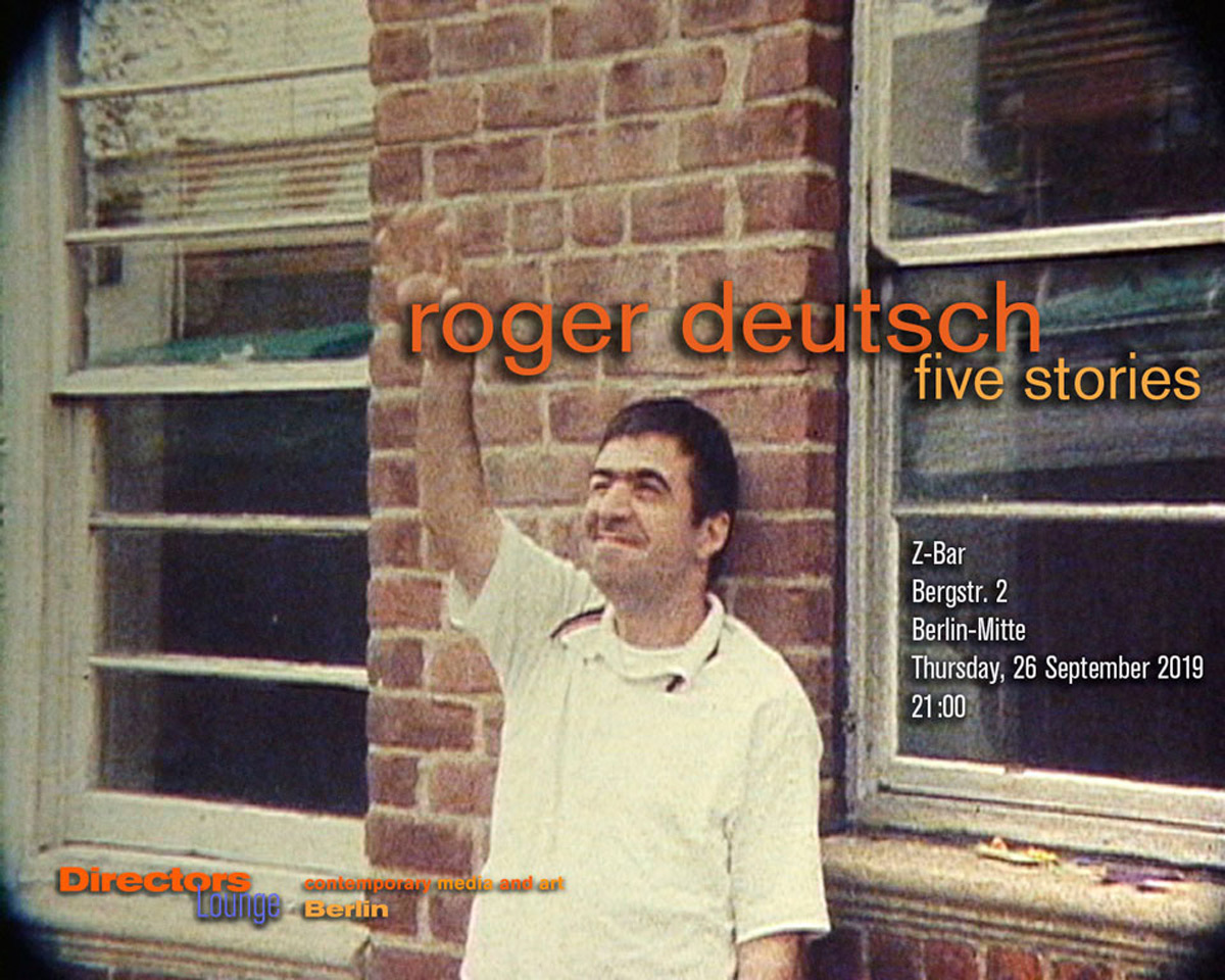 "Roger Deutsch, still from Five Stories. Part of the Directors Lounge screening ""Five Stories by Roger Deutsch"". Berlin, September 2019."